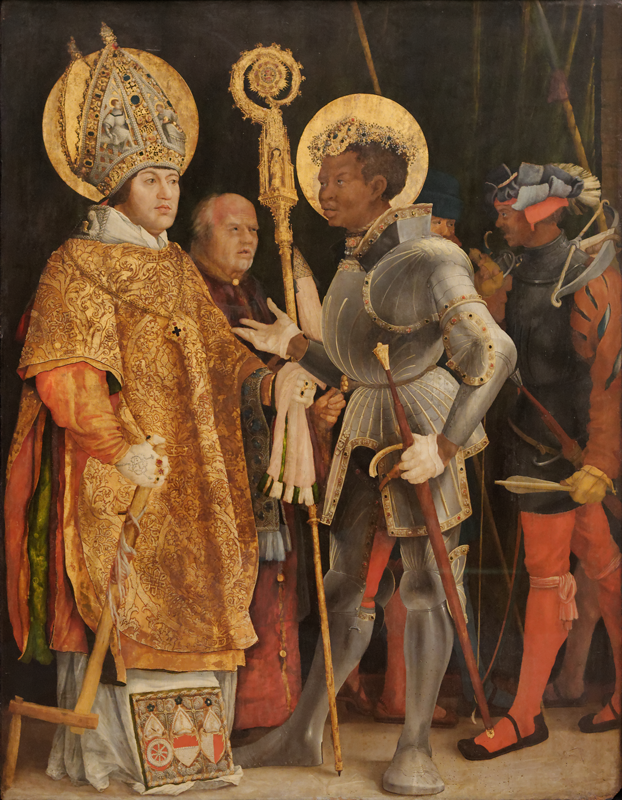 Painting by Matthias Grünewald (1470–1528) depicting the               meeting of Saints Erasmus and Maurice.
