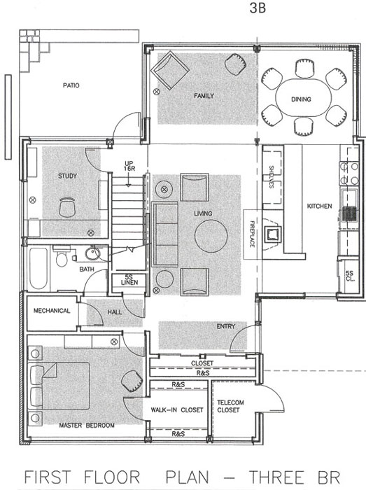 3b townhouse floor plan three br - Housing Plans
