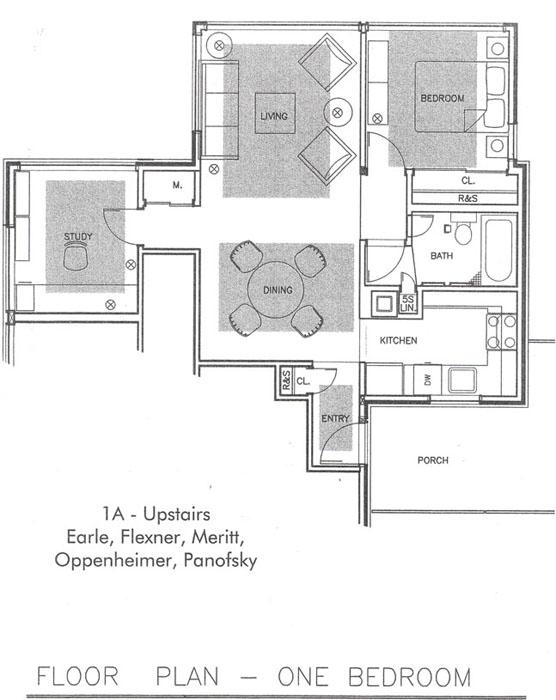 1a upstairs earle flexner meritt oppenheimer panofsky floor plan one bedroom - Housing Plans