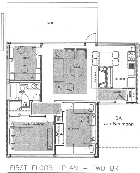 2a von neuman first floor plan two br - Housing Plans
