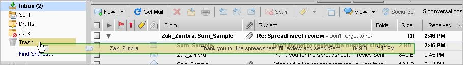 Working With The Trash Folder In Zimbra Web Client
