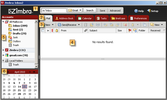 How to navigate around the Zimbra Desktop client user interface