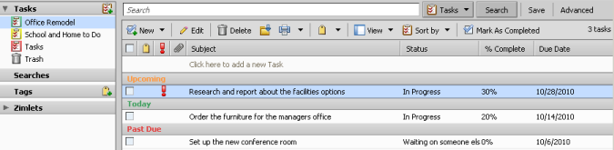 Managing your Tasks with the Zimbra Desktop Client