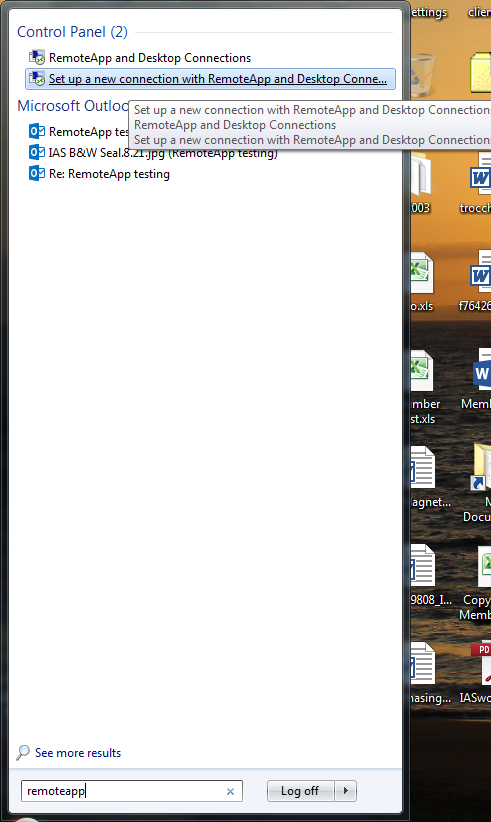 Setting up access to RemoteApps from Windows | Information