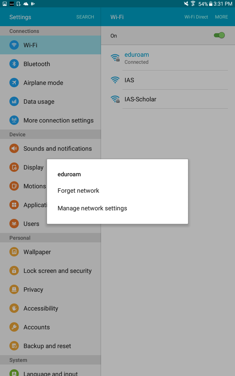 WPAD Setup Guide for Android 4 4+ | Institute for Advanced Study