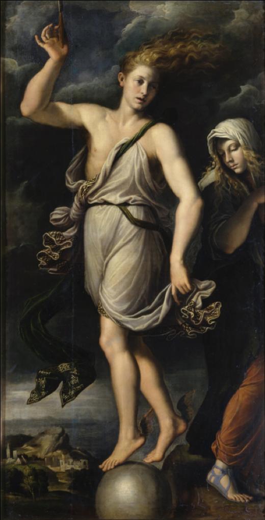 Girolamo da Carpi (1501–1556), Kairos and Penance, 1541, Dresden, Gemäldegalerie