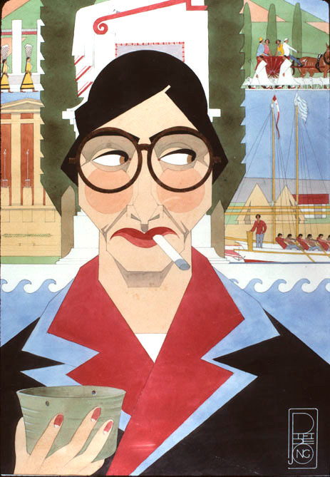 Caricature of Hetty Goldman by Piet de Jong, 1925
