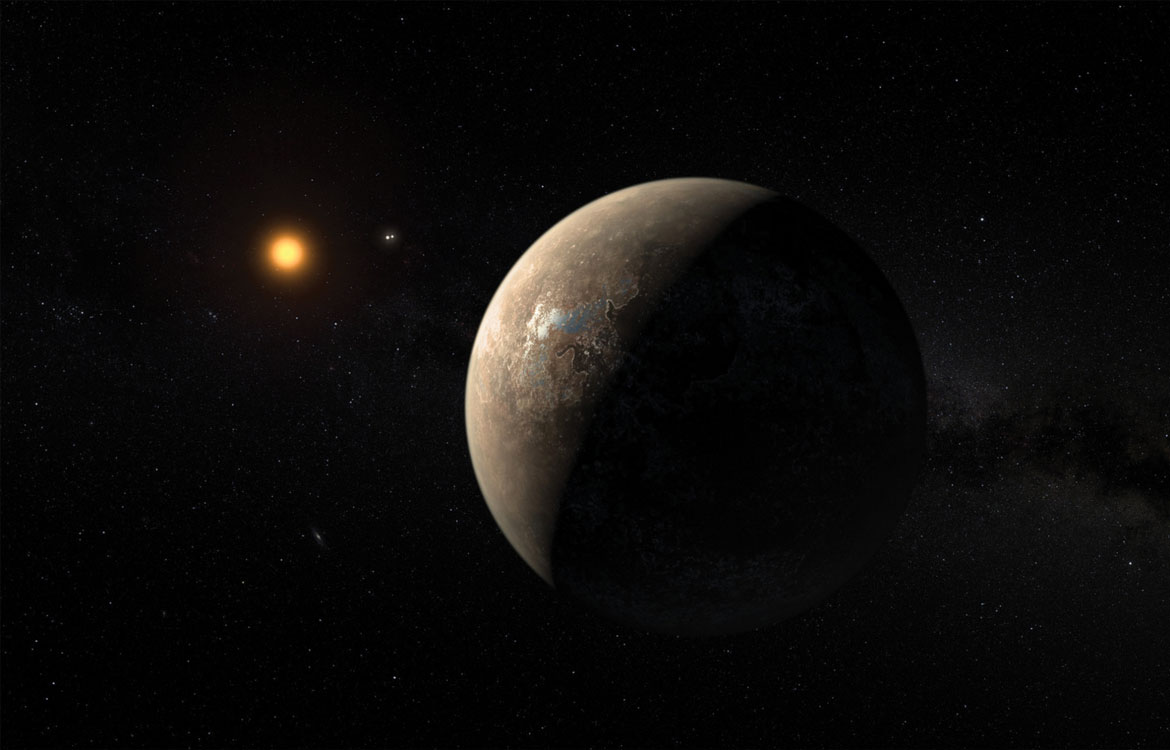 An artist's impression of the planet Proxima b orbiting Proxima Centauri, the closest star to Earth's sun.