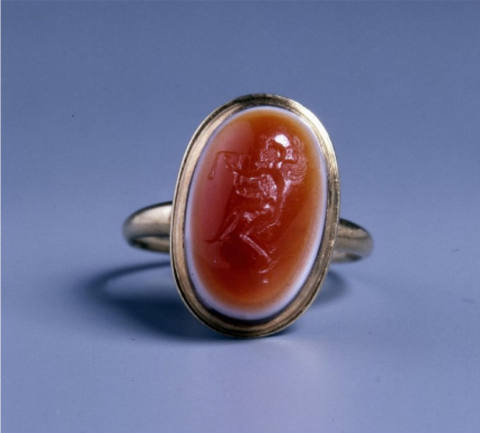 Onyx gem, first to second century B.C.E. with an engraving of Kairos, London, British Museum, previously in the collection of Pierre Louis Jean Casimir de Blacas (1771–1839)