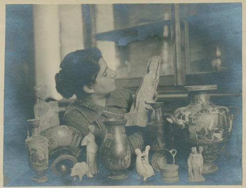 Hetty Goldman with statue