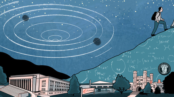 Illustration representing black holes in string theory over hill of scientific formulae Maldacena is hiking up