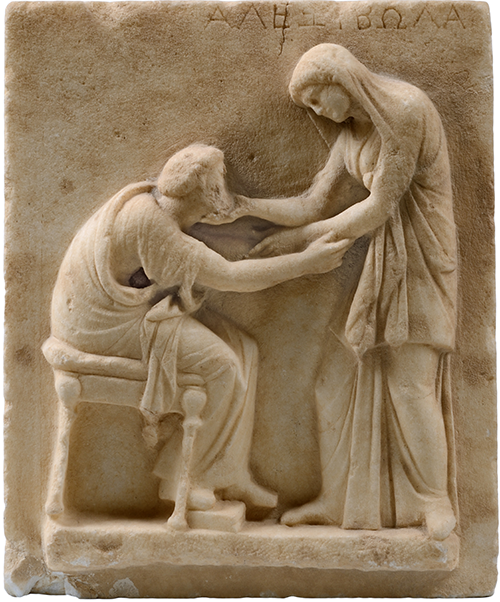 A world of emotions the making of an exhibition institute for figure 1 funerary stele with greeting scene from thera santorini early third century bce alexibola a deceased woman bids the final farewell to an m4hsunfo