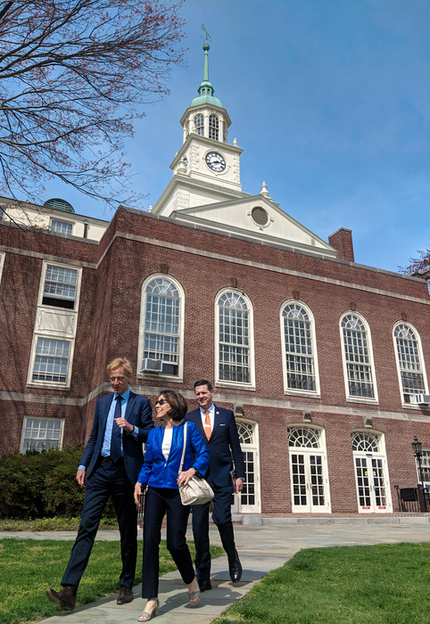 Robbert Dijkgraaf with France A. Córdova in front of Fuld Hall at the Institute for Advanced Study