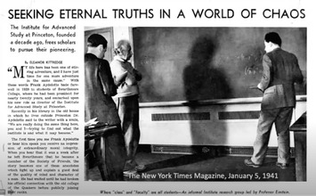 Newspaper snippet featuring Einstein at IAS