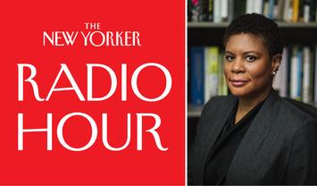 Portrait of Alondra Nelson with New Yorker Radio Hour Logo