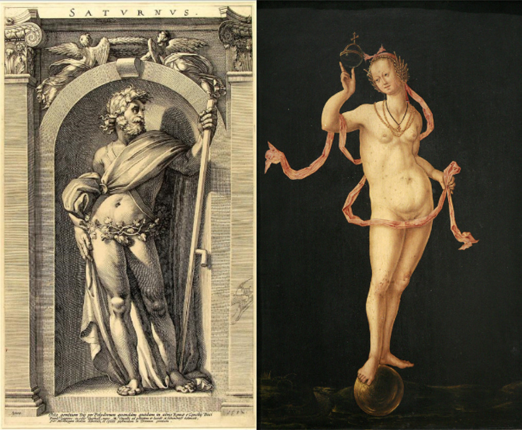 Left: Saturn, engraving, 1592, copied by Hendrick Goltzius             (1558–1617) from an original fresco by Polidoro da Caravaggio             (1499/1500–ca. 1543), Amsterdam, Rijksmuseum Right: Anonymous             (Holland), Allegory of Fortune, ca. 1520–1530, Strasbourg, Musée des             Beaux-Arts, inv. no. 283