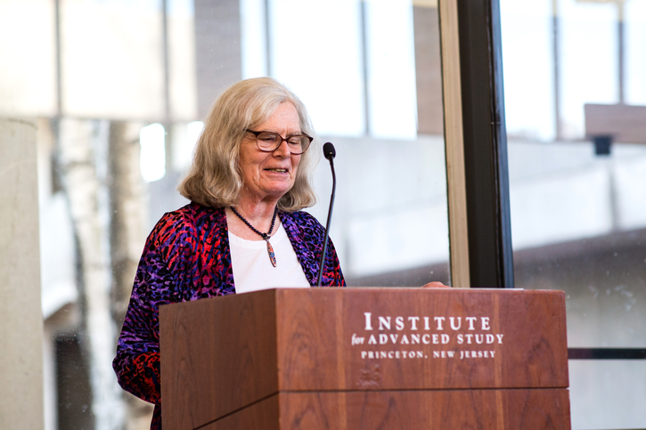Karen Uhlenbeck gives remarks at the podium