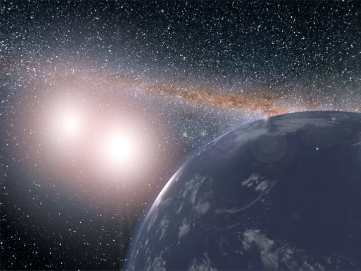 An artist's conception of a water world orbiting the binary star system Kepler-35 A and B. Worlds like this could host moons that might be habitable.