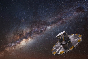 Artist's impression of the Gaia spacecraft, with the Milky Way in the background. Credit: ESA/ATG medialab; background image: ESO, S. BRUNIER