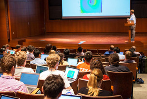 John ZuHone of the Smithsonian Astrophysical Observator, gives a lecture at the 2016 Prospects in Theoretical Physics Program. Photo by Andrea Kane.