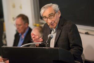 Michael Walzer lectures at the podium