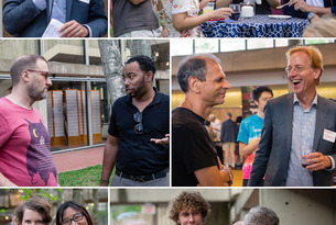 A collage of scholars enjoying the Welcome Day reception at IAS