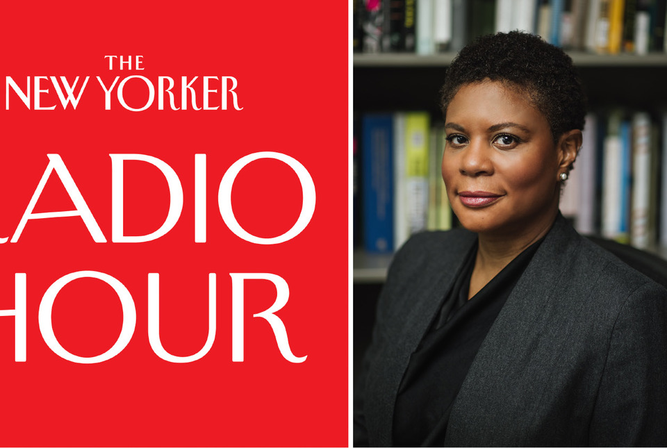 Portrait of Alondra Nelson with New Yorker Radio Hour Logo