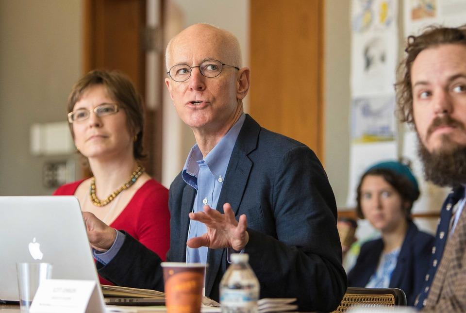 Columba Stewart speaks during a seminar at IAS