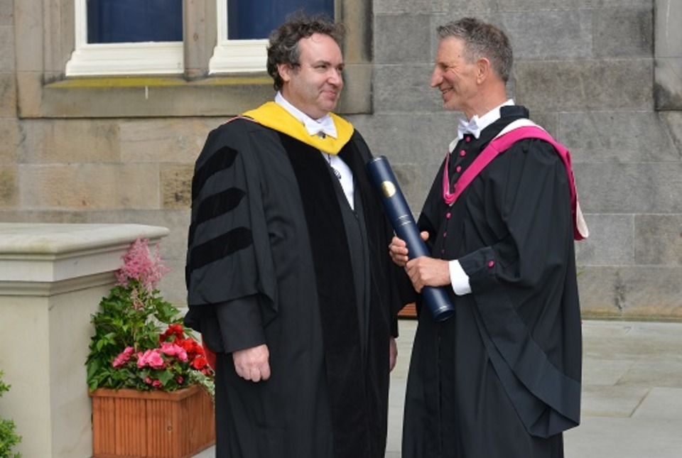 Laureation byProfessor Igor Rivin (left), School of Mathematics & Statistics, for Professor Peter Sarnak (right), recipient of the Honorary Degree of Doctor of Science