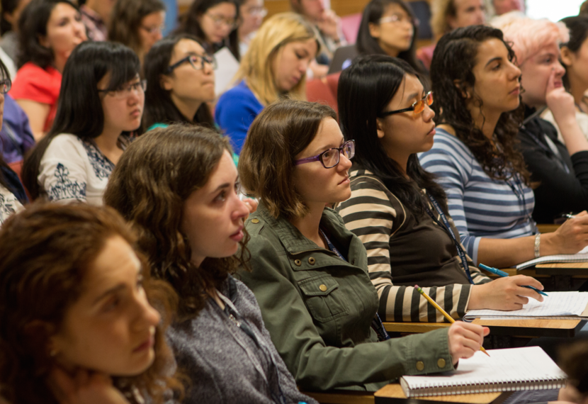 Participants at lecture during the 2015 Program for Women and Mathematics.