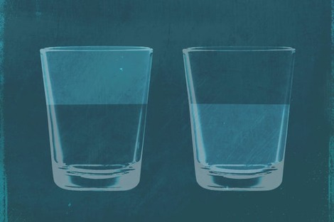 "Artistic graphic shows two half-full glasses of water. The use of color suggests that what is perceived as ""emptiness"" in one case is ""fullness"" in the other"